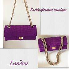 CHANEL 2.55 PURPLE SATIN CROC DOUBLE FLAP BAG