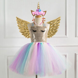 Unicorn Toddler Kids Girls Dress Birthday Sequins Dress Outfits Party Costume