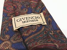 Vintage GIVENCHY Monsieur 100% Silk Tie Blue with red, gold, & green paisley