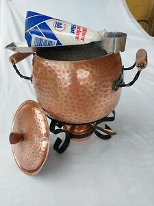 Feuerzangenbowle, Kupfer mit Stövchen, Brennstelle und Zuckerhalterung, Rechaud