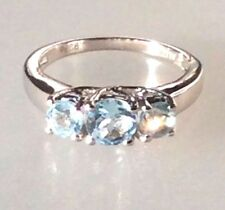 Three-Stone Ring: 1.30ct TW Genuine Blue Topaz Real 925 Silver Engagement Ring