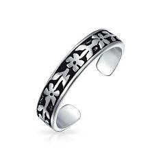 Flowers Vine Leaf Oxidized Midi Band Toe Ring 925 Silver Sterling