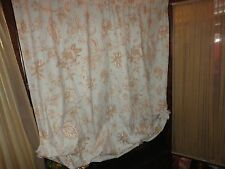 JC PENNEY LIGHT SEAFOAM GREEN  BROWN FLORAL TOILE BALLOON PANEL CURTAIN 50X59