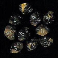 Chessex Dice Sets Gemini Black & Gold Silver Ten Sided Die d10 Set 10 CHX 26251