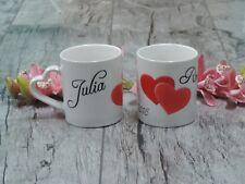 Tassen Set mit Motiv Hochzeit Herzen Hochzeitsdatum Geschenk Personalisiert