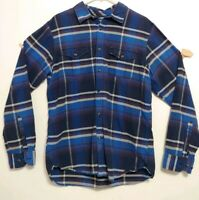 The north face shirt long sleeve Large button front plaid blue pockets