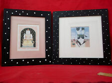 Unique Cat(Kitten) Prints Hand Painted Framed-Set of 2-Indian Cat & Birthday Cat