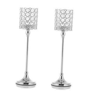 """Votive Crystal Candle Holders/Candle Lanterns for Home Office 2pcs 16"""" Silver"""