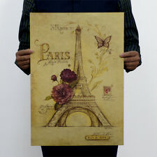 Paris Iron Tower Hand Painted Art Kraft Paper Posters Retro Painting Stickers