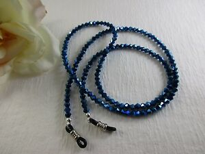 "COBALT BLUE METALLIC 27"" Czech Bi-Cone Crystal Beaded Eyeglass Chain USA"