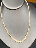 Vintage Graduated Natural White Pearl Strand Necklace Sterling Silver Clasp 18""
