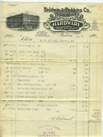 GRAPHIC 1908 BALDWIN ROBBINS HARDWARE CO BILLHEAD BOSTON MASSACHUSETTS