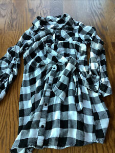 JUSTICE GIRLS DRESS SIZE 10 BUFFALO BLACK WHITE PLAID FLANNEL DRESS GENTLY USED