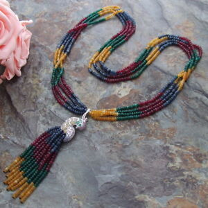 Multi Color Jade 28'' 4Strands Necklace CZ Pendant