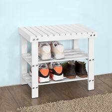 SoBuy® Hallway Shoe Bamboo Seat Bench Bathroom Rack White, L50cm, FSR02-K-W, UK