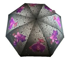 Flowers Butterfly Raindrops Design Auto Open Portable Folding Umbrella