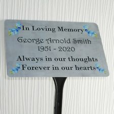 More details for personalised memorial plaque grave marker tree stake spike name dates any words