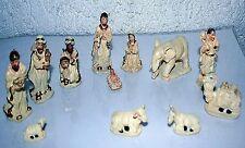 Krippenfiguren 12-tlg 1,6 - 7 cm h, weiß  Krippenzubehör Weihnachten Polyresin