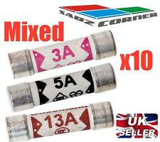 PACK OF 10 ELECTRICAL MIXED PLUG TOP FUSE 3AMP 5AMP 13AMP