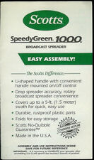 Scotts Speedy Green 1000 Broadcast Spreader Rare Original Factory Owner's Manual