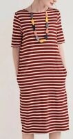 Seasalt UK 12 Red&Cream Striped Sailor T-shirt Dress Pockets Organic Cotton