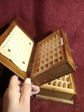VINTAGE early 1900 NICE WOOD BOX TRAY w LOT ( 2 x 36 ) of COMPARTEMENTS ANTIQUE