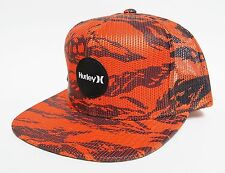 HURLEY KRUSH MESHER SNAPBACK Hat Orange OSFA ($32) NEW All-Mesh Skate Camo Cap