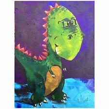 Maria Scalf T Rex Dinosaurs Cartoon Illustration Decor ORIGINAL PAINTING 9x12