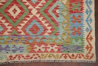 Pastel Color Reversible Flat-Weave Turkish Kilim Area Rug Wool Hand-Woven 5'x8'