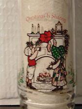 Vtg Holly Hobbie & Robby Coke 1 of 4 Glass American Greetings Christmas 1980