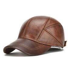 Winter Hats with Ear Flaps Men's Genuine Leather Baseball Caps Men Cap Hat
