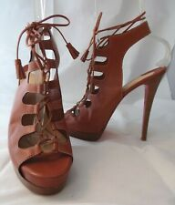CHRISTIAN LOUBOUTIN 41 Miss Fortune Tan Lace Up Platform Heels Sandals $1195