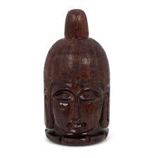 Buddha Head Teak Wooden Jewelry Box Trinket Pill Stash Box Urn Screw On Top