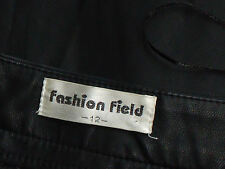 FASHION FIELD BlackFauxLeatherKneeVMicroMini Size12 EUC