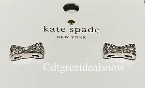 NWT Kate Spade Ready Set Bow Pave Bow Studs Clear/Silver