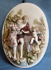 ANTIQUE GERMAN PORCELAIN WALL PLAQUE 1850-1880 OLD WORLD COUPLE w/PUTTI/CHERUB