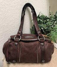 B. Makowsky Brown Glove Leather Slouchy Shoulder Handbag Satchel Bag Studded EXC