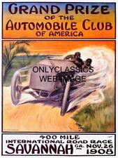 1908 Savannah Georgia Grand Prix Auto Racing Poster Formula 1 Indy 500 Race Car