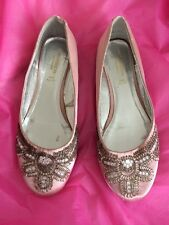 Ladies Size 4 Pink Silk Look Beaded Flat Shoes Pumps By Monsoon