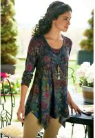 SOFT SURROUNDINGS Floral Kaleidoscope Knit Tunic Top Sweater Asymmetric Boho M