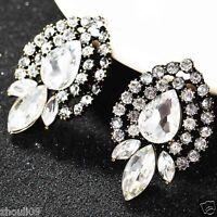 New Lady Woman Elegant crystal Rhinestone long Ear Studs Clip hoop earrings e651