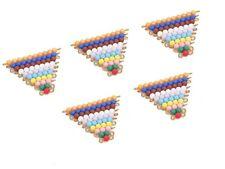 New Montessori Mathematics- 5 Sets of Coloured Bead Stairs 7mm.dia.
