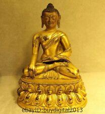 Old Tibetan Bronze 24K Gold Gilt Shakyamuni Amitabha Sakyamuni Buddha Statue