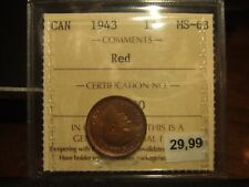 CANADA ONE CENT 1943 ICCS MS-63 !!!! Full Red!