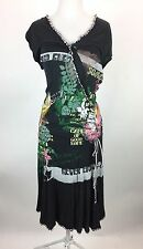 VTG 90s DEPT Sunny Delight Black Graphic Print Wrap V Neck T-Shirt Dress Sz L