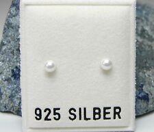 NEU 925 Silber OHRSTECKER 3mm PERLEN in weiß PERLENOHRRINGE OHRRINGE