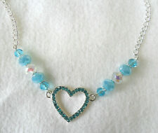 """23mm Heart with blue sparkly crystals, 19"""" necklace"""