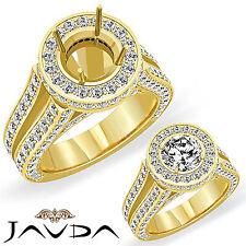 Diamond Engagement Pave Ring 18k Yellow Gold Round Semi Mount Split Shank 2.46Ct