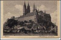 Meissen Sachsen Postkarte 1922 gelaufen Partie an der Albrechtsburg mit Dom