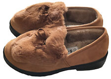 Womens Suede Shearling Moccasin Slippers House Shoes With Fur Slip On Tan 6